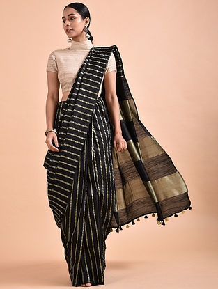 Black Mulberry Silk Saree with Zari and Tassels