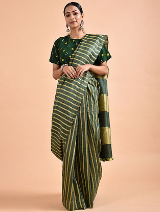 Olive green Mulberry Silk Saree with Tassels