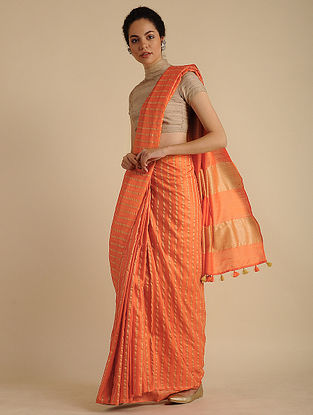 Orange Handwoven Mulberry Silk Saree with Tassels