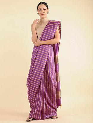Purple Handwoven Mulberry Silk Saree with Tassels