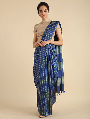 Blue-Green Handwoven Mulberry Silk Saree with Tassels