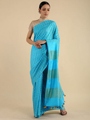Blue Handwoven Mulberry Silk Saree with Tassels