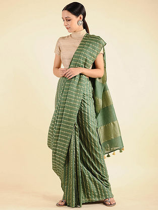 Green Handwoven Mulberry Silk Saree with Tassels