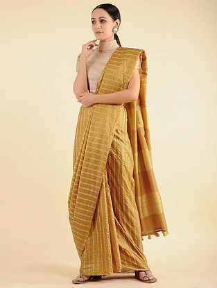 Yellow Handwoven Mulberry Silk Saree with Tassels