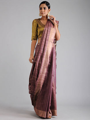 Purple Ghicha Tussar Saree with Zari