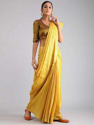 Yellow Ghicha Tussar Saree with Zari