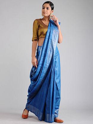 Blue Ghicha Tussar Saree with Zari