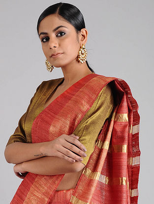 Red Ghicha Tussar Saree with Zari