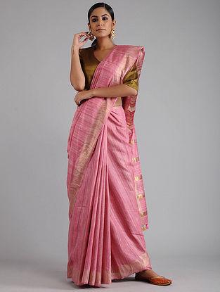 Pink Ghicha Tussar Saree with Zari