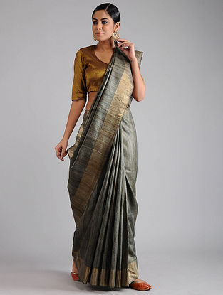 Black Ghicha Tussar Saree with Zari
