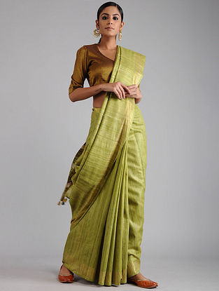 Green Ghicha Tussar Saree with Zari