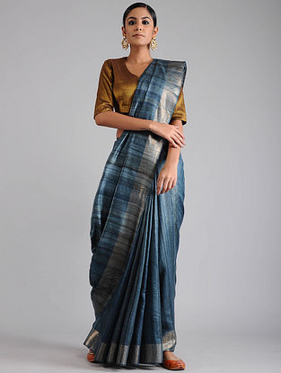 Grey Ghicha Tussar Saree with Zari