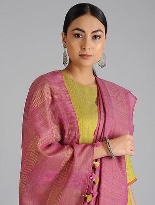 Pink Handwoven Kota Tussar Silk Saree