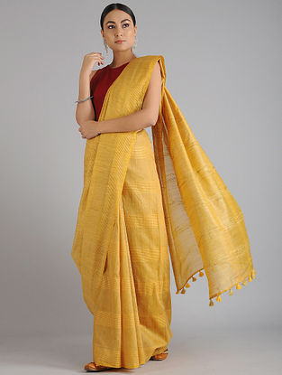 Yellow Handwoven Kota Tussar Silk Saree