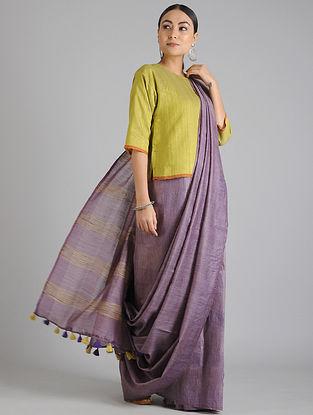 Purple Handwoven Kota Tussar Silk Saree