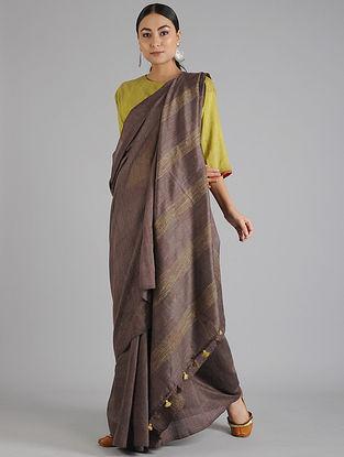 Brown Handwoven Kota Tussar Silk Saree