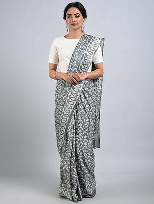Grey-Ivory Handwoven Bagru Printed Mulberry Silk Saree