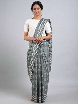 Grey-Ivory Handwoven Bagru Printed Mulberry Silk Saree