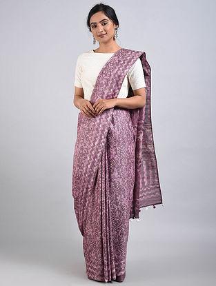 Purple Handwoven Bagru Printed Mulberry Silk Saree