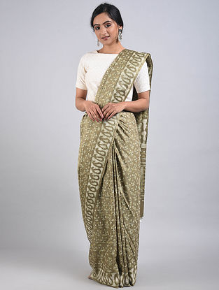 Kashish-Ivory Handwoven Bagru Printed Mulberry Silk Saree