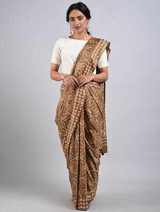 Brown-Ivory Handwoven Bagru Printed Mulberry Silk Saree
