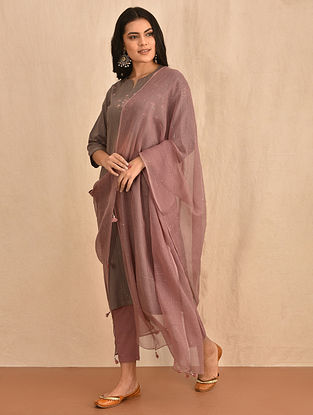 Taupe Kota Cotton Dupatta with Mukaish and Tassels