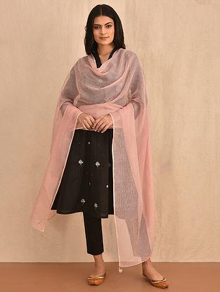 Pink Kota Cotton Dupatta with Mukaish and Tassels