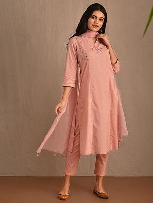 SAZAPOSH - Pink Hand Embroidered Cotton Kurta with Pants