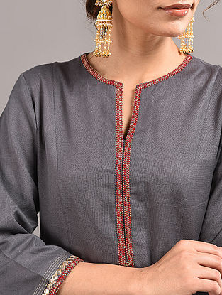 Grey Cotton Kurta with Hand Embroidered Gota Patti Work