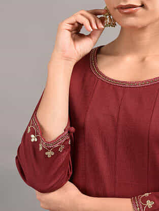 Red Cotton Kurta with Hand Embroidered Gota Patti Work