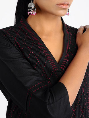 Black-Red Pintuck Cotton Kurta