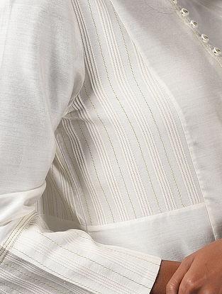 PREYASI - Ivory Cotton Kurta with Pintucks and Zari Stitch