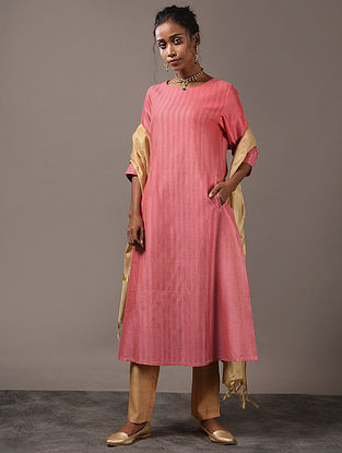 SAHACHARI - Pink Cotton Kurta with Pintucks and Zari Stitch