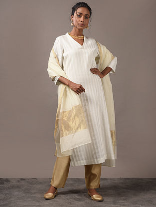 PRIYATAMA - Ivory Cotton Kurta with Pintucks and Zari Stitch