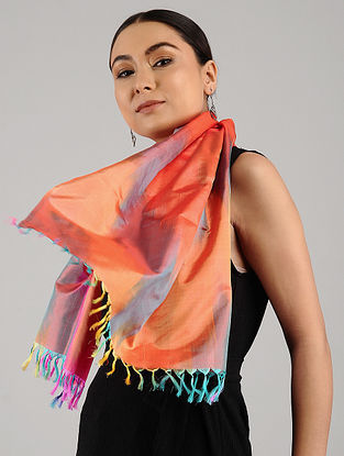 Multicolored Handwoven Ikat Katan Silk Stole