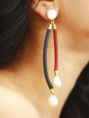 Red Blue Cord Earrings with Pearls