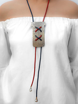 Red Blue Cord Necklace with Pearls