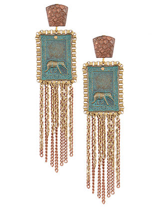 Turquoise Gold Tone Earrings with Elephant Motif