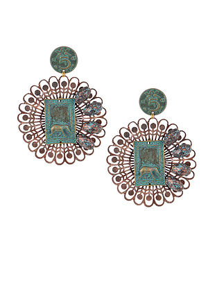 Turquoise Earrings with Elephant Motif