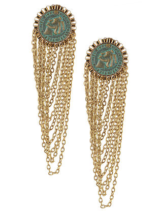 Classic Turquoise Gold Tone Earrings