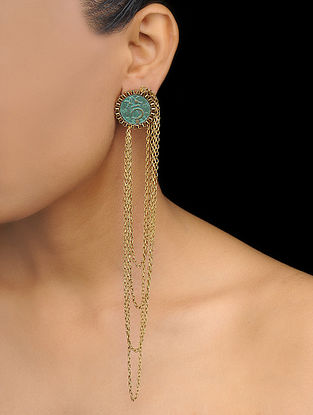 Turquoise Gold Tone Earcuffs