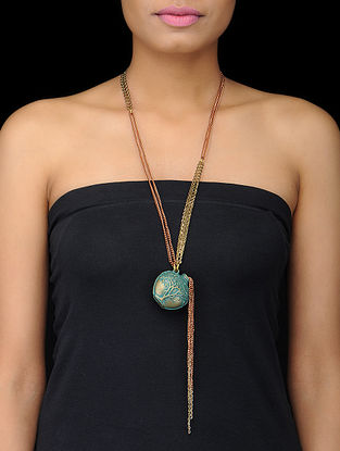 Turquoise Gold Tone Necklace with Pot Design