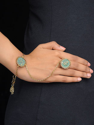 Classic Turquoise Gold Tone Hand Harness