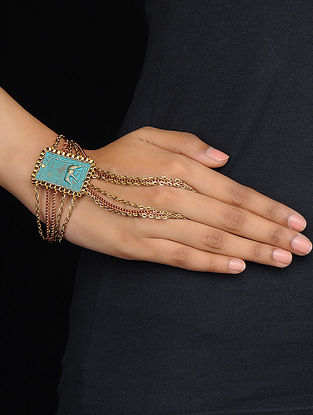 Turquoise Gold Tone Hand Harness with Elephant Motif