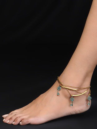 Turquoise Gold Tone Anklet with Key Design