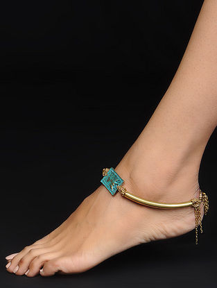 Turquoise Gold Tone Anklet with Elephant Motif