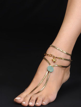 Classic Turquoise Gold Tone Anklet
