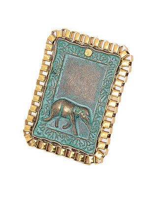 Turquoise Gold Tone Adjustable Ring with Elephant Motif