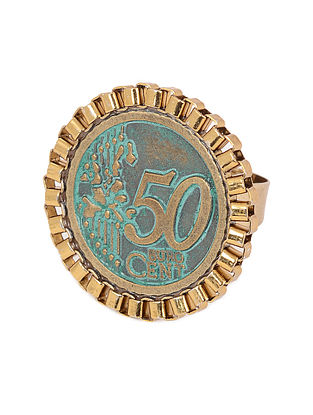 Classic Turquoise Gold Tone Adjustable Ring