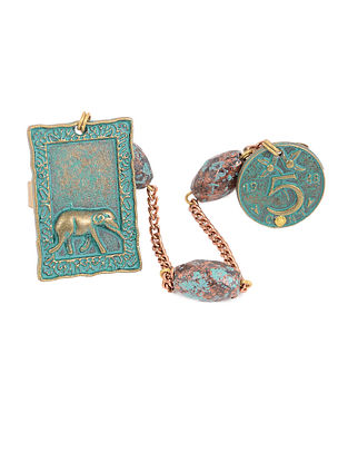 Turquoise Adjustable Ring with Elephant Motif